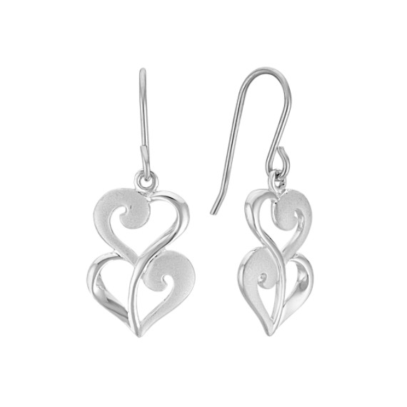 Double Heart Dangle Earrings in Sterling Silver