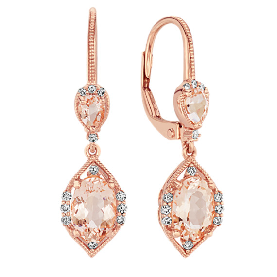 Double Morganite and Diamond Earrings