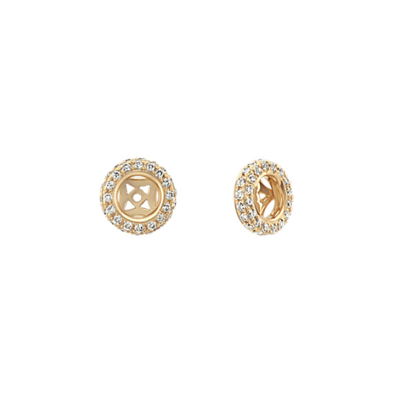 Double Sided Round Diamond Earring Jackets in 14k Yellow Gold