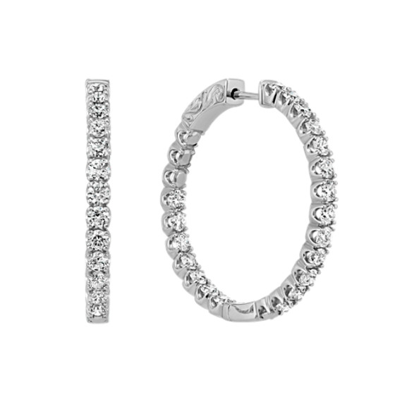 Double Sided Round Diamond Hoop Earrings in 14k White Gold