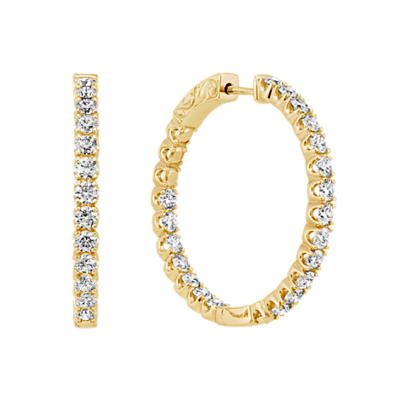 Double Sided Round Diamond Hoop Earrings in 14k Yellow Gold