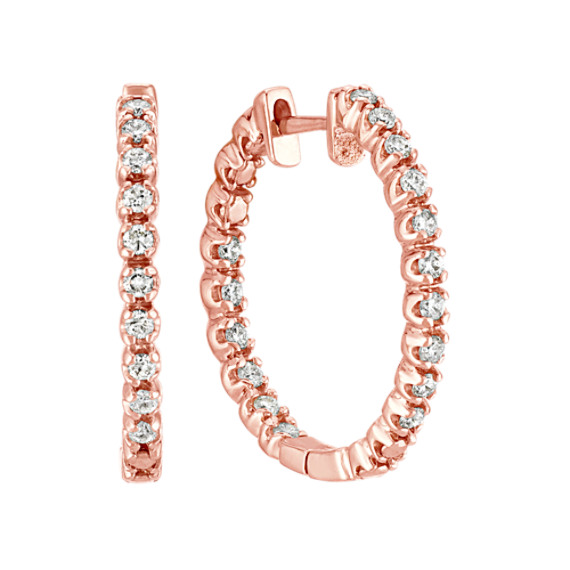 Double Sided Round Diamond Hoop Earrings in Rose Gold