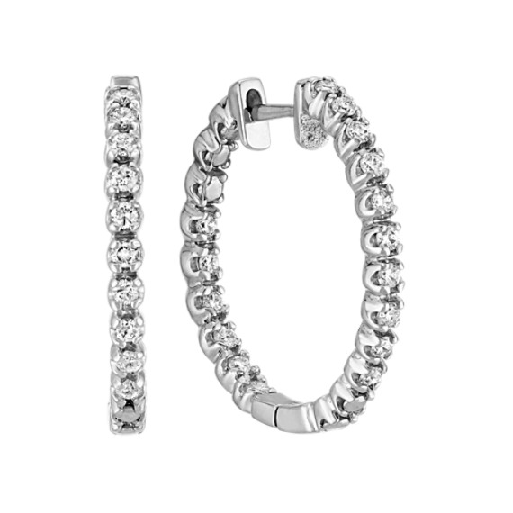 Double Sided Round Diamond Hoop Earrings in White Gold