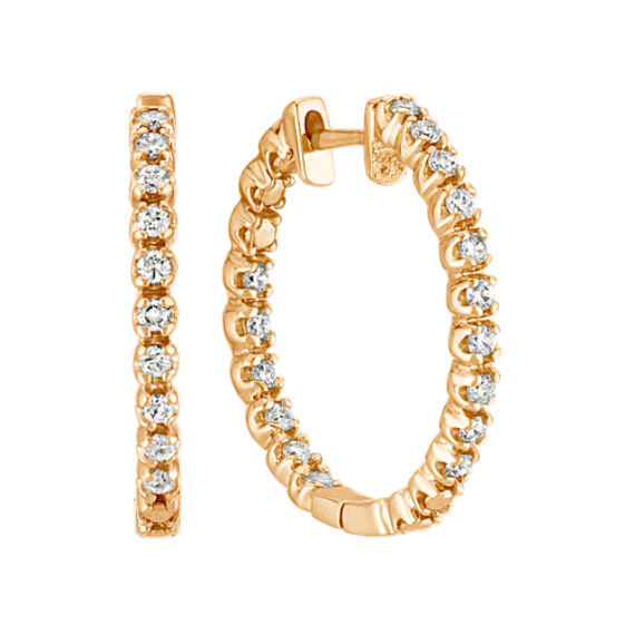 Double Sided Round Diamond Hoop Earrings in Yellow Gold