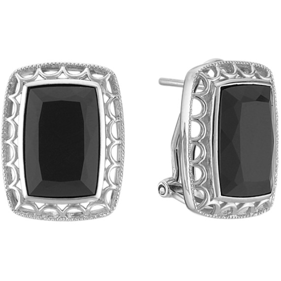 Emerald Cut BlackAgate and Sterling Silver Earrings