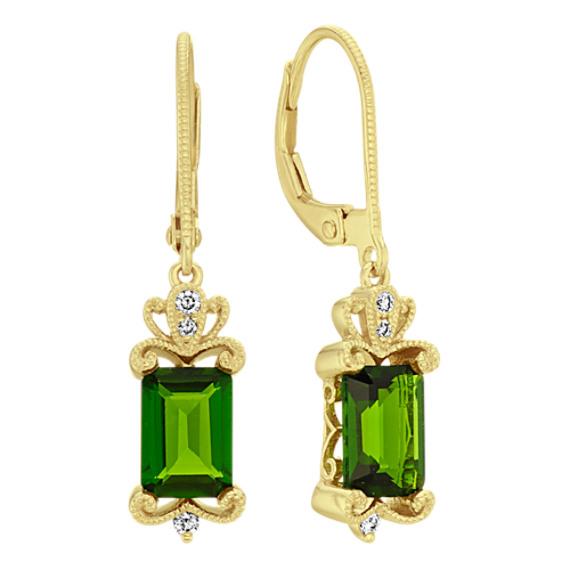 Emerald Cut Chrome Diopside and Diamond Dangle Earrings
