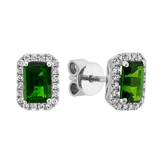 Emerald Cut ChromeDiopside and Round Diamond Earrings in Sterling Silver