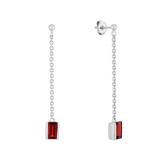 Emerald Cut Garnet Dangle Earrings In Sterling Silver