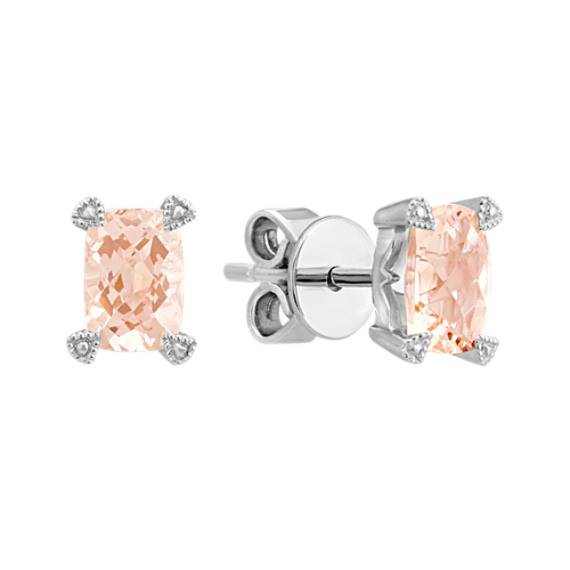 Emerald Cut Pink Morganite Earrings in Sterling Sliver