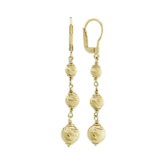 Engraved Ball Dangle Earrings