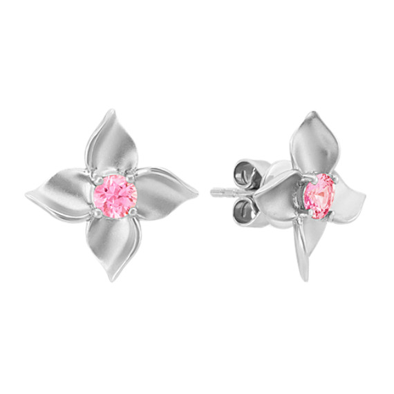 Floral Pink Sapphire Earrings