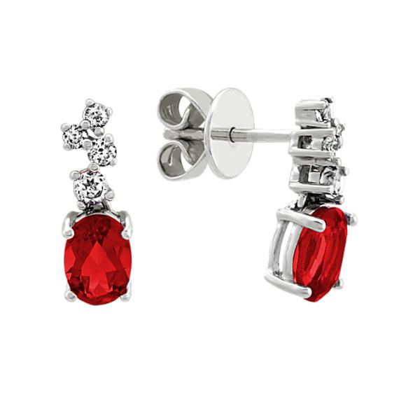 Garnet and Diamond Dangle Earrings