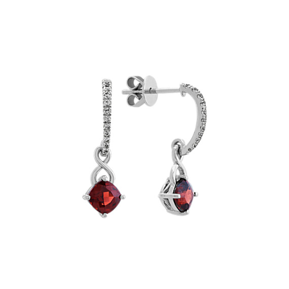 Garnet and White Sapphire Dangle Earrings