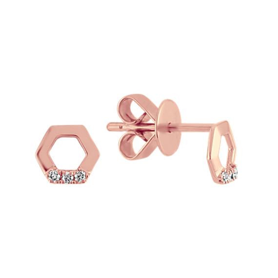 Geometric Diamond Earrings in 14k Rose Gold