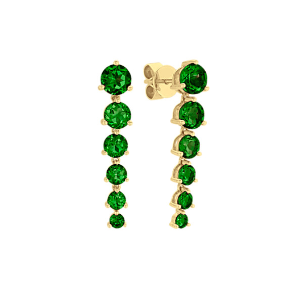 Graduated Round Green Chrome Diopsides Dangle Earrings