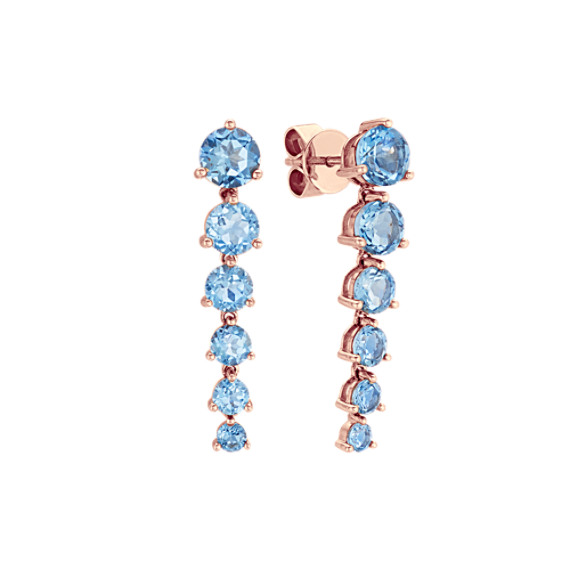 Graduated Round London Blue Topaz Dangle Earrings