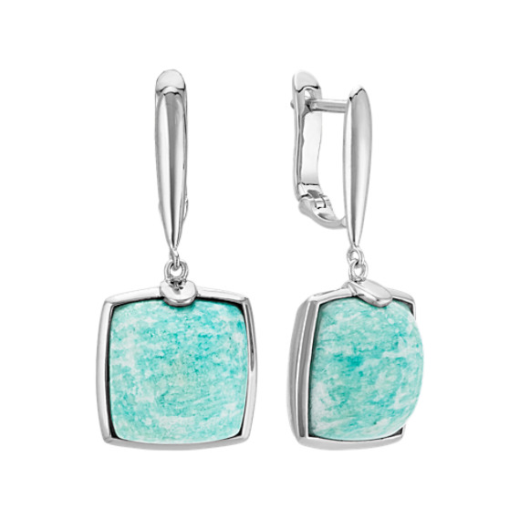 Green Amazonite and Sterling Silver Earrings
