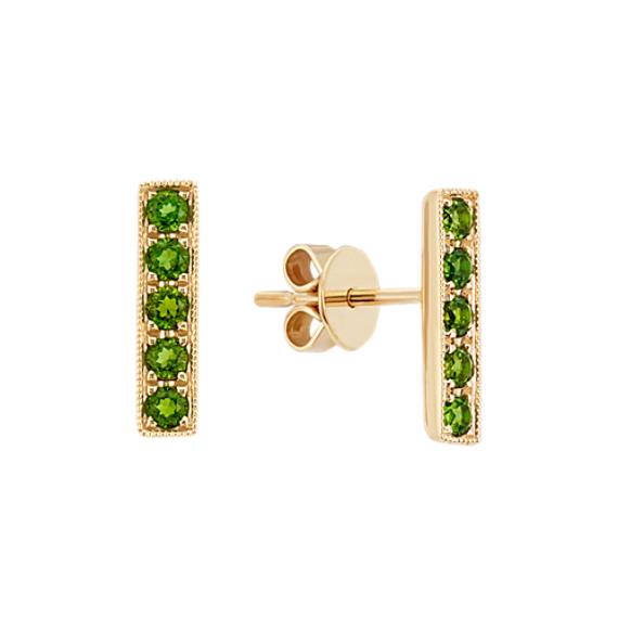 Green Chrome Diposide Bar Earrings