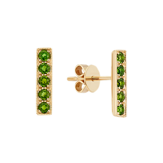 Green Chrome Diposide Bar Earrings