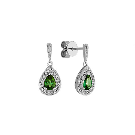 Green Sapphire and Diamond Dangle Earrings