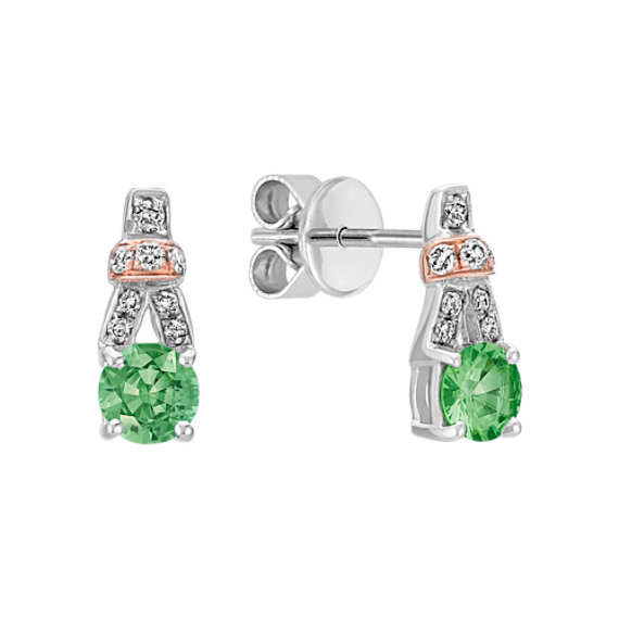Green Sapphire and Diamond Earrings in 14k Rose and White Gold