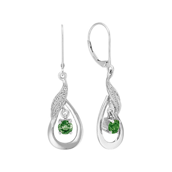 Green Sapphire and Diamond Earrings in Sterling Silver