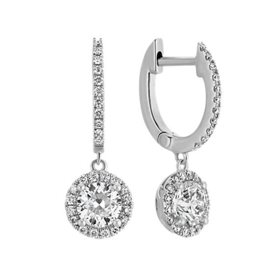 Halo Diamond Drop Earrings in 14k White Gold