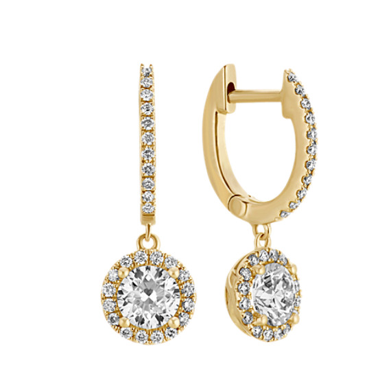 Halo Diamond Drop Earrings In 14k Yellow Gold