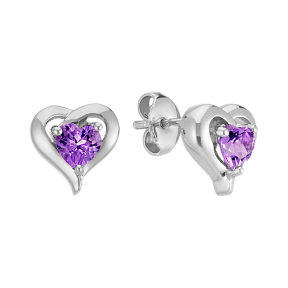 Heart-Shaped Amethyst Earrings in Sterling Silver