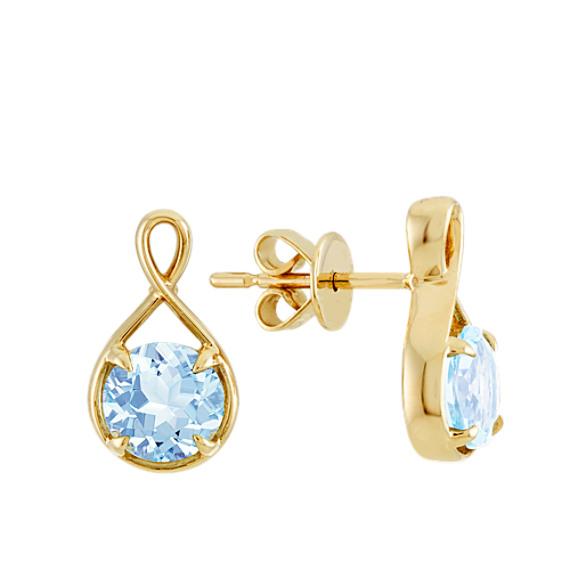 Infinity Aquamarine Earrings in 14k Yellow Gold