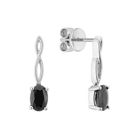 Infinity Black Sapphire Dangle Earrings