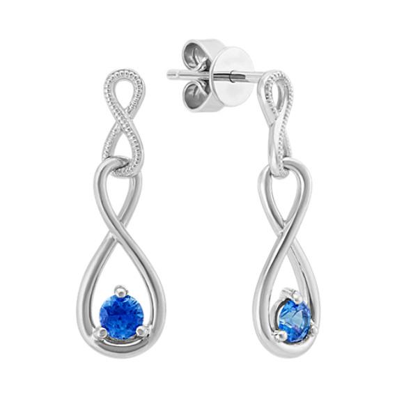 Infinity Kentucky Blue Sapphire Earrings in Sterling Silver