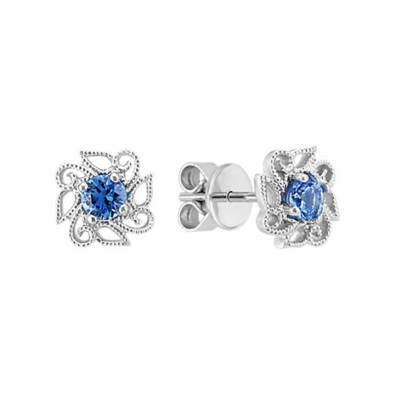 Kentucky Blue Sapphire Flower Earrings