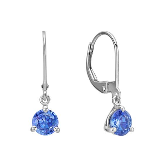 Kentucky Blue Sapphire Leverback Dangle Earrings