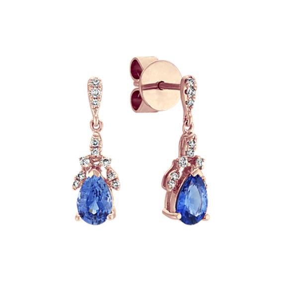 Kentucky Blue Sapphire and Diamond Dangle Earrings