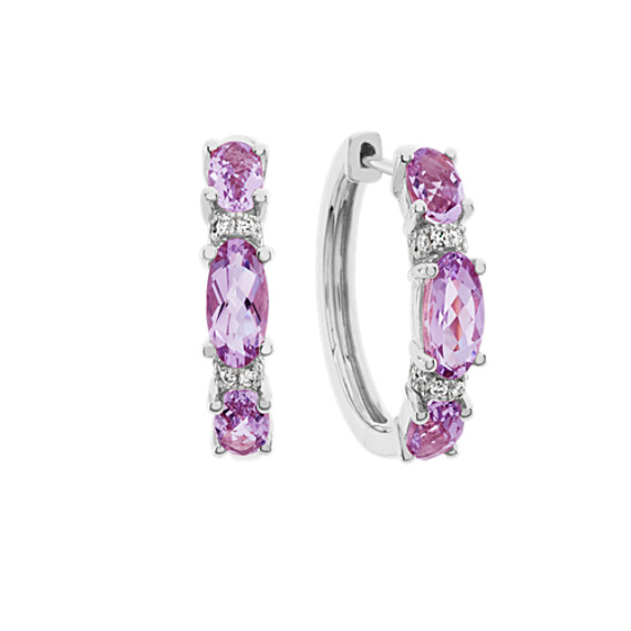Light Purple Amethyst and Diamond Hoop Earrings