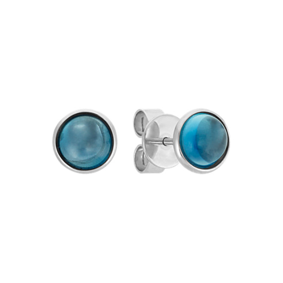 London Blue Topaz Earrings In 14k White Gold