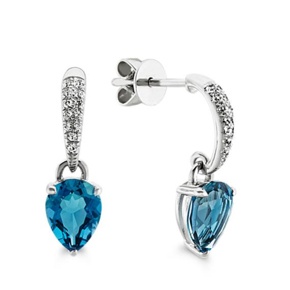 London Blue Topaz and White Sapphire Dangle Earrings
