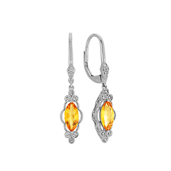 Marquise Citrine and Diamond Dangle Earrings