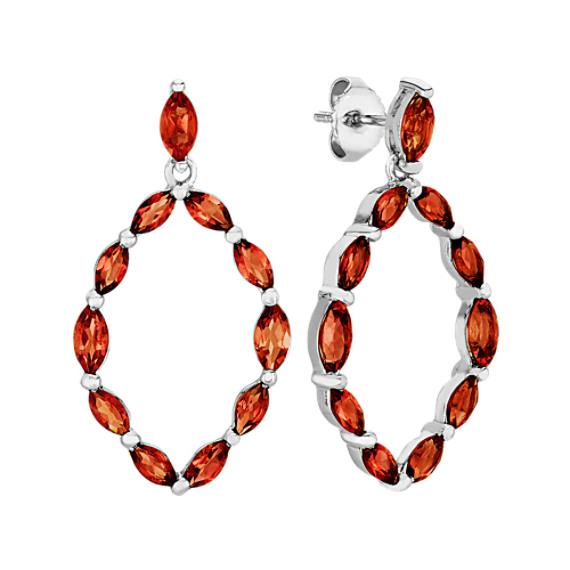 Marquise Garnet Oval Dangle Earrings