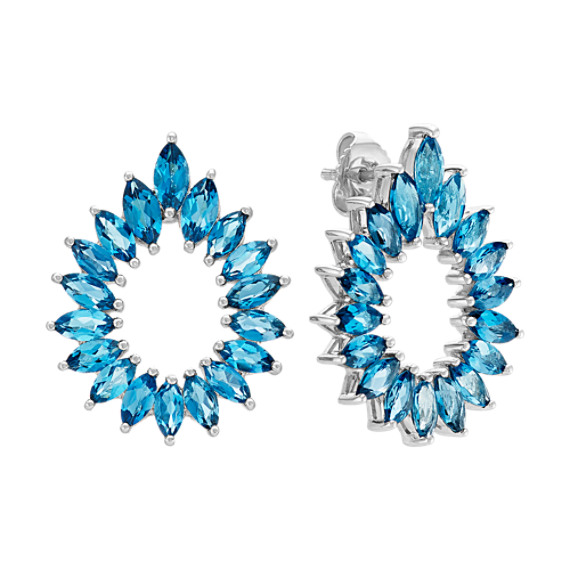 Marquise London Blue Topaz Teardrop Earrings