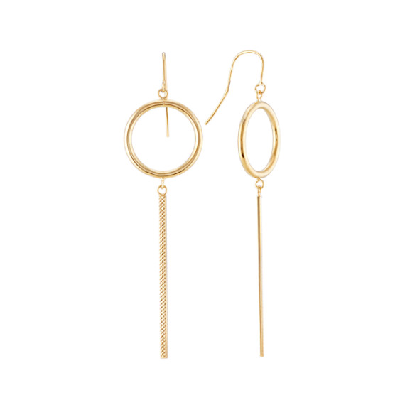 Modern Circle and Bar Dangle Earrings