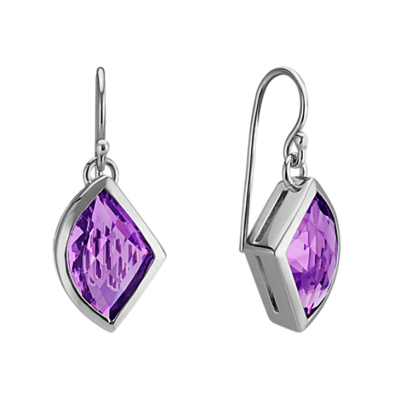 Modified Trillion Amethyst Dangle Earrings in Sterling Silver