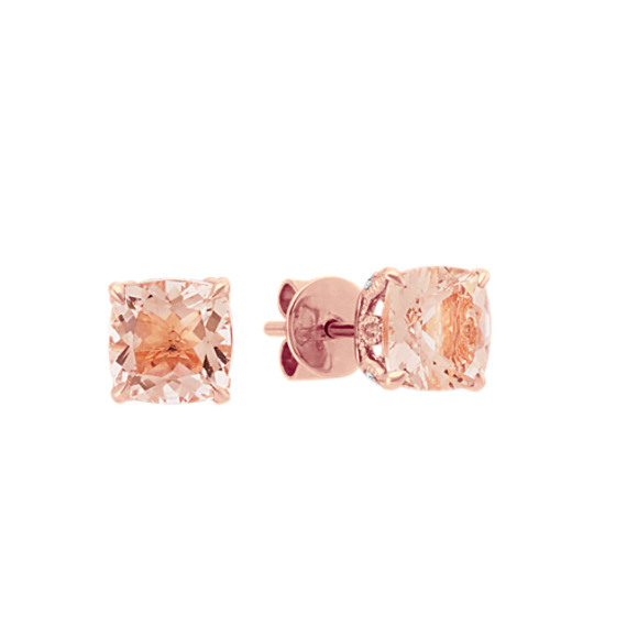 Morganite Stud Earrings with Diamond Accent