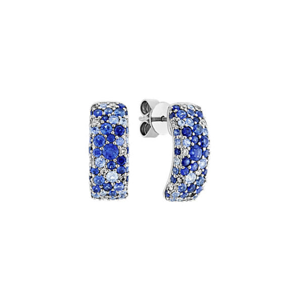Mosaic Blue Sapphire and Diamond Earrings
