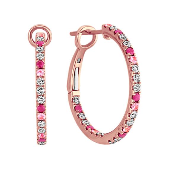 Multi-Pink Sapphire & Diamond Inside-Out Hoop Earrings