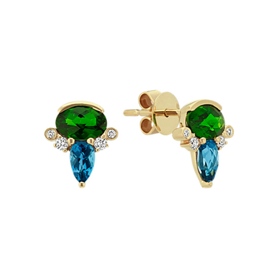 Multiple Gemstone Earrings in 14k Yellow Gold