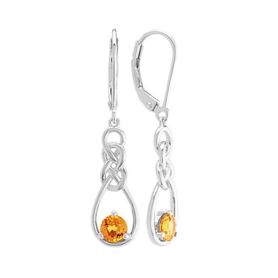 Orange Sapphire Dangle Earrings in Sterling Silver