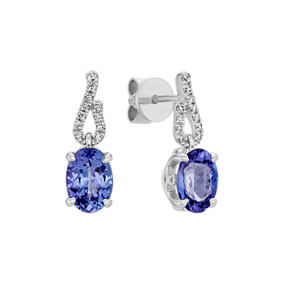 Oval Blue Tanzanite and Round Diamond Earrings