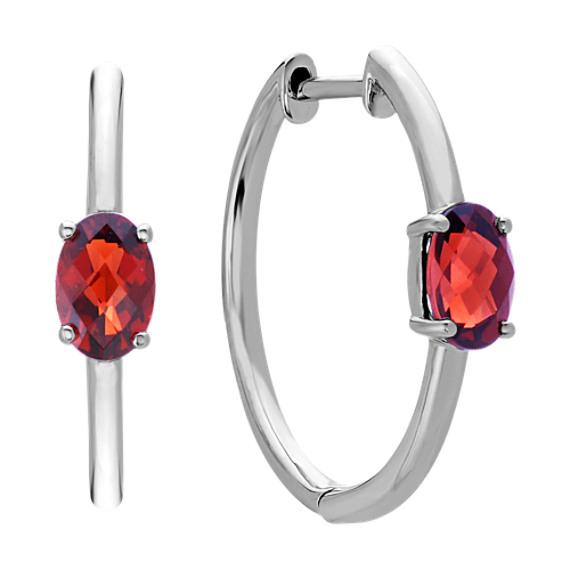 Oval Garnet Hoop Earrings in Sterling Silver